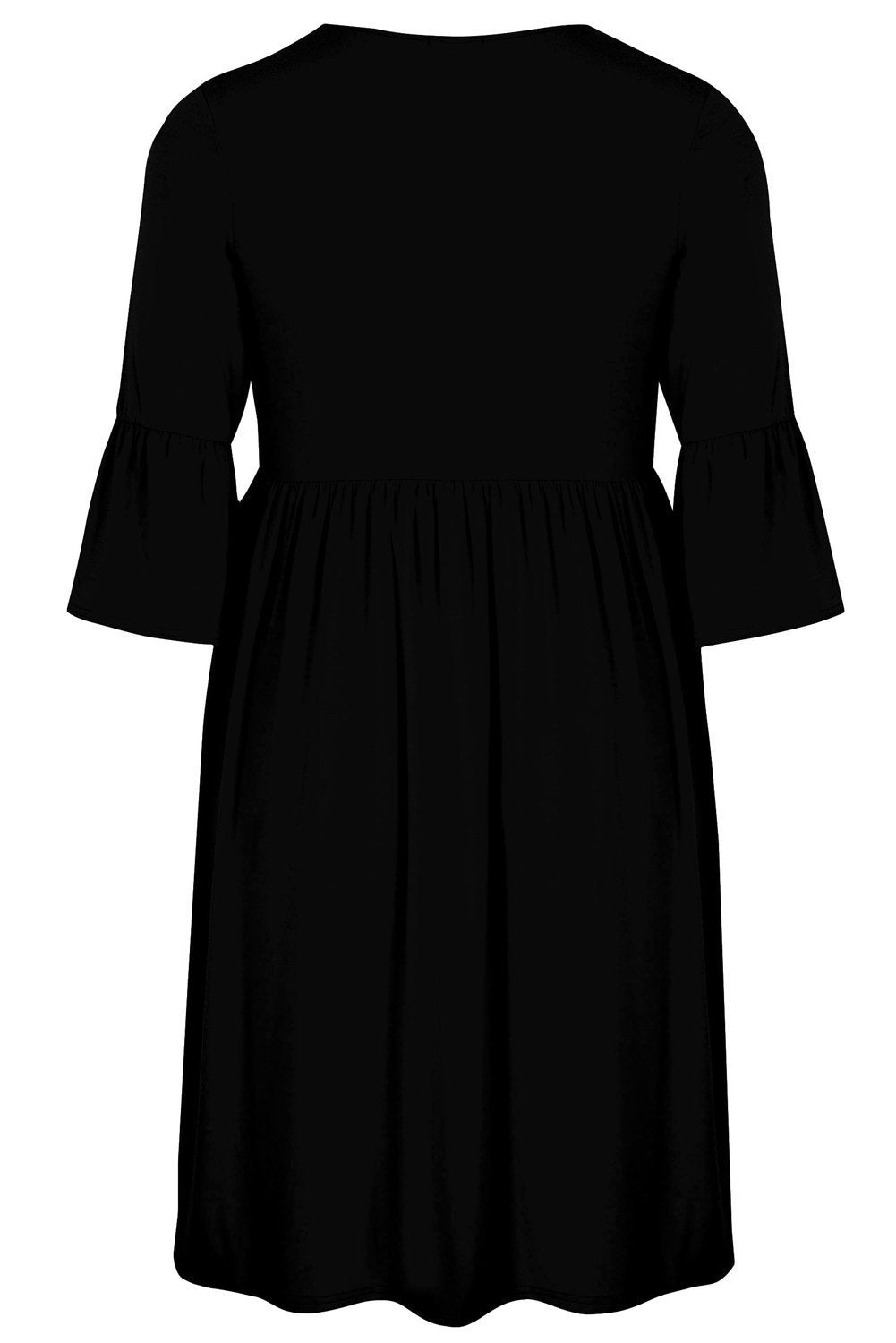 plus size Long Sleeve Dress XL / AUS 18 - 20 / Black Isabella Flute Sleeve Dress