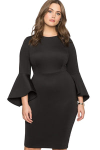 plus size Long Sleeve Dress XL / AUS 18 / Black Milan Dress
