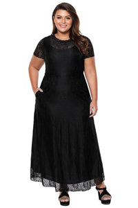 plus size Maxi Dress Black / XL / AUS 16 - 18 zzz. Anna Lace Gown - Black