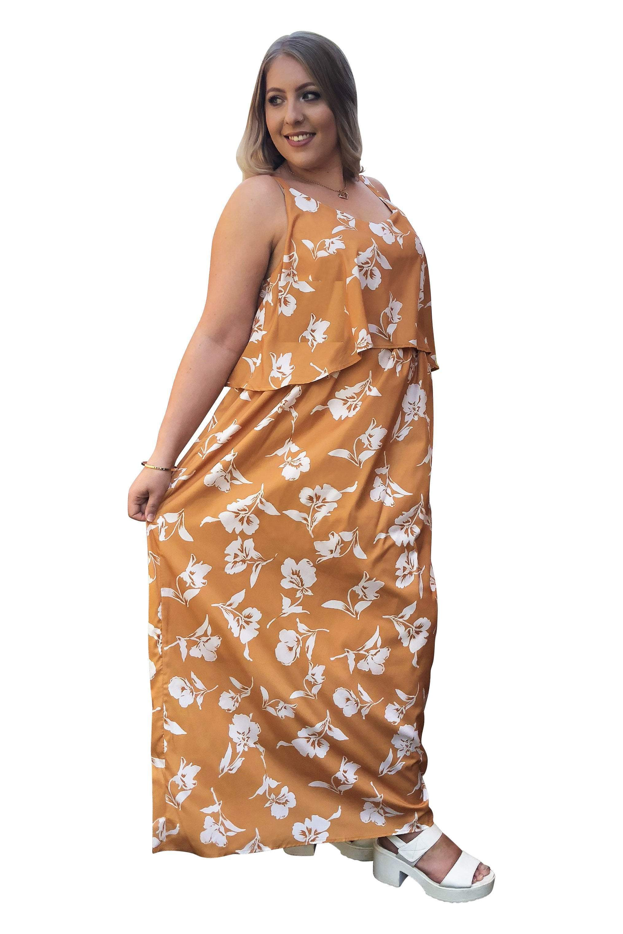 plus size Maxi Dress L / AUS 16 / Mustard Yellow Willow Maxi Dress - CLEARANCE