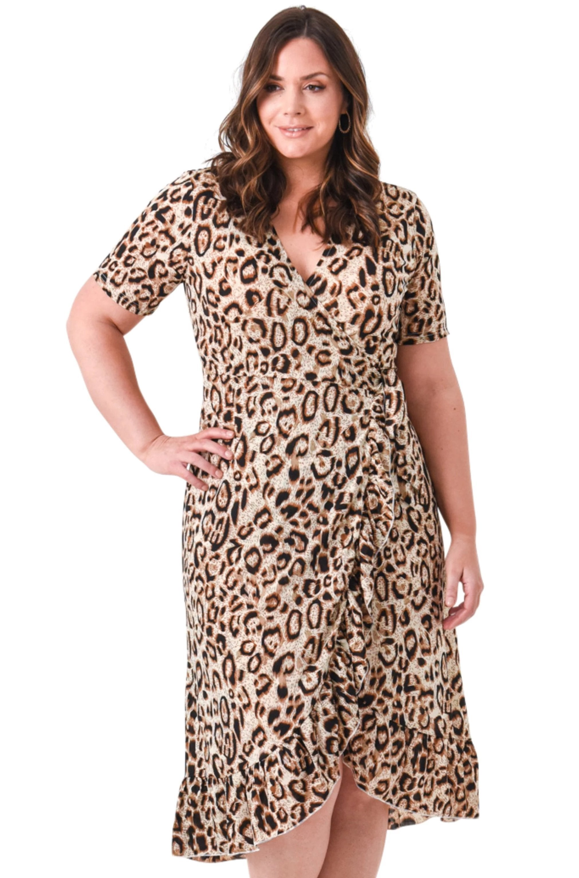 plus size Maxi Dress Leopard Dress - Tan