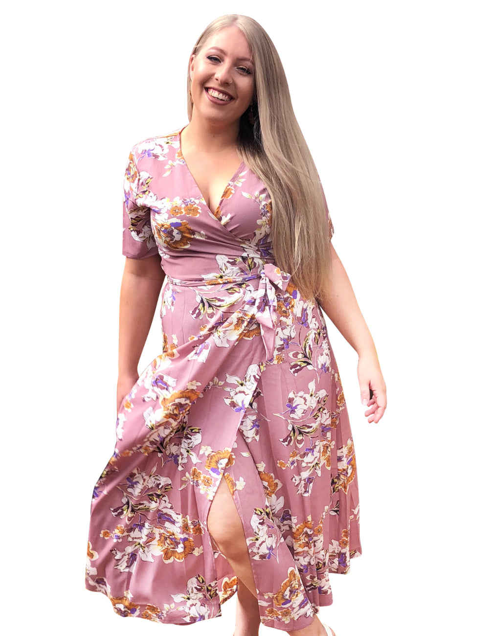 plus size Maxi Dress XL / AUS 16 / Dusty Pink Julia Floral Wrap Dress