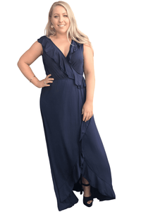 plus size Maxi Dress XL / AUS 16 / Navy Blue Angie Maxi Dress
