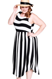 plus size Midi Dress aa. Jordyn Striped Dress