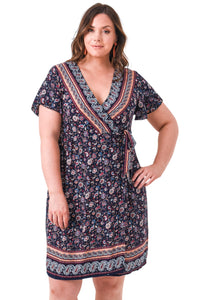 plus size Midi Dress XL / AUS 16 - 18 / Floral Navy Zara Dress