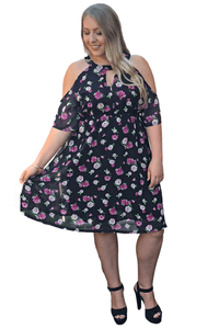plus size Midi Dress XL / AUS 16 / Black Eleanor Dress