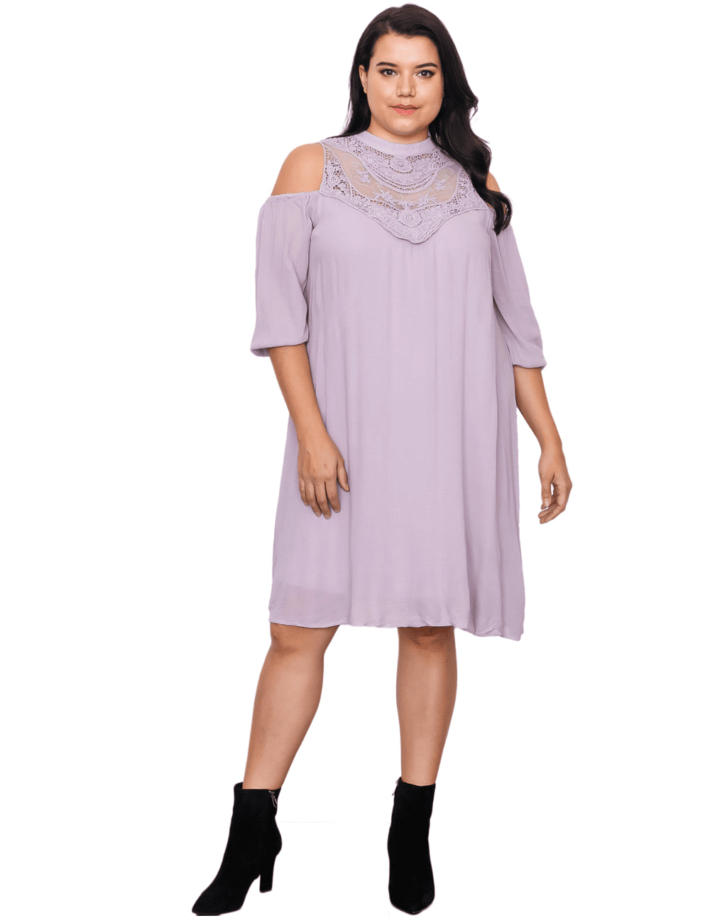 plus size Midi Dress XL / AUS 16 / Lilac Purple Mia Dress