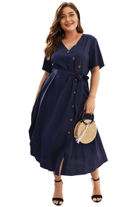 plus size Midi Dress XL / AUS 16 / Navy Blue Margot Dress