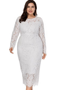 plus size Midi Dress XL / AUS 18 / White Stella Dress