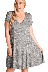 plus size Mini Dress XL / AUS 16 / Grey Phoebe Knit Dress