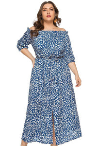 plus size Off Shoulder Dress Giselle Dress - Blue