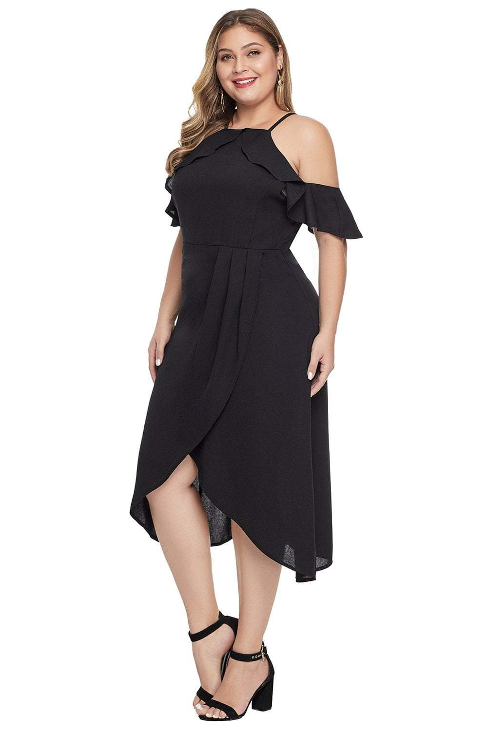 plus size Off Shoulder Dress Jasmine Dress - Black