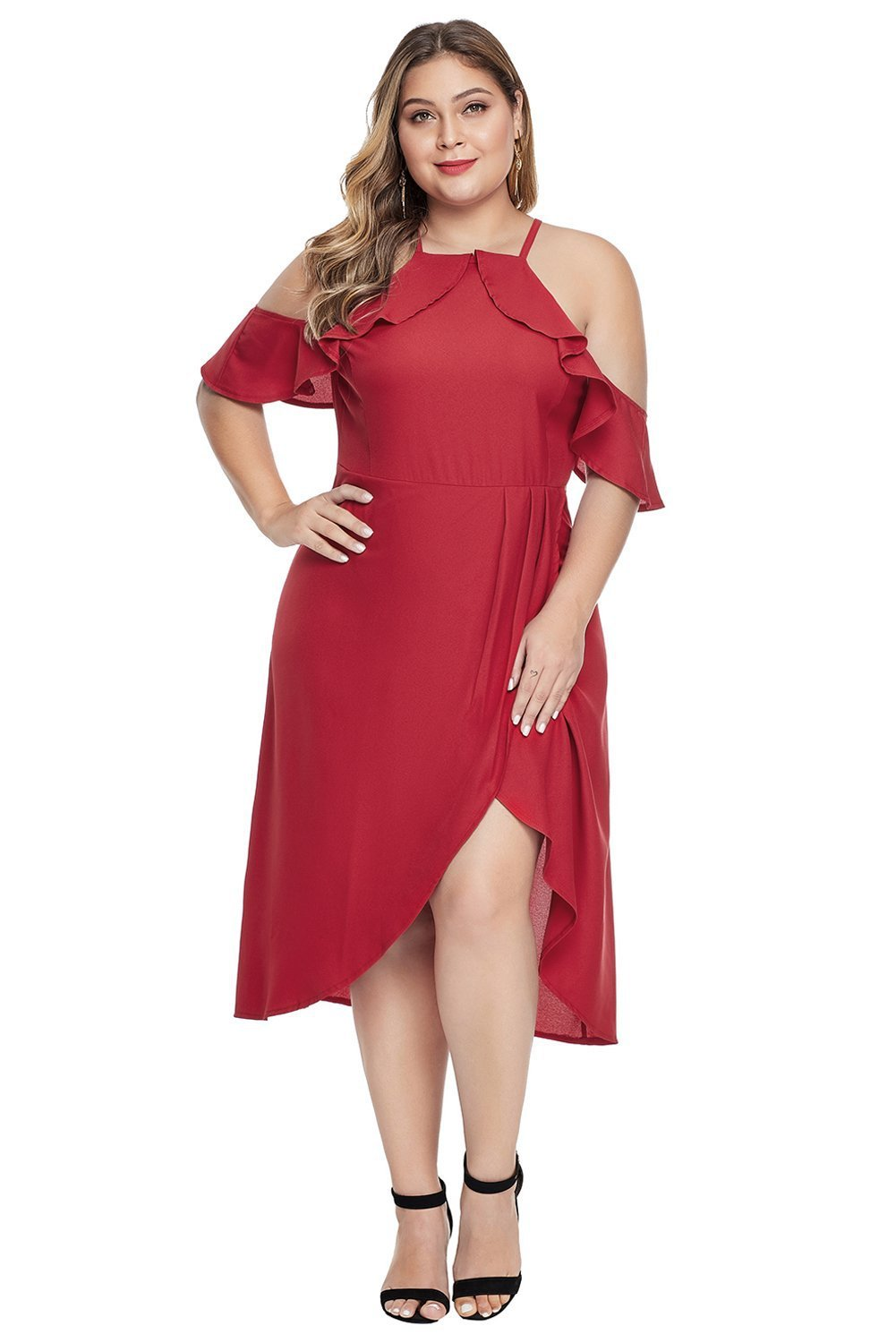 plus size Off Shoulder Dress XL / AUS 14 - 16 / Red aa. Jasmine Dress - Red