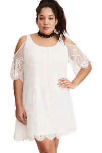 plus size Off Shoulder Dress XL / AUS 14 - 16 / White Ruby Lace Trapeze Dress - White