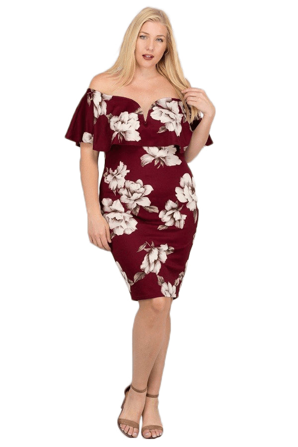 plus size Off Shoulder Dress XL / AUS 16 / Burgendy Red Shannon Dress