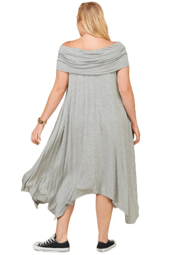 plus size Off Shoulder Dress XL / AUS 16 / Grey Piper Dress