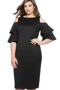 plus size Off Shoulder Dress XL / AUS 18 / Black Krista Cold Shoulder Dress - Black
