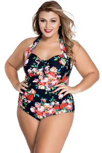 plus size One Piece XL / AUS 16 / Floral Black aa. Copacabana One Piece