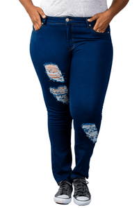 plus size Pants 13/14 / Dark Blue Taylor Ripped Jeans