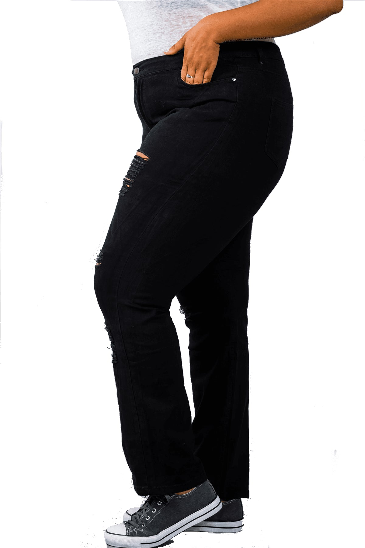 plus size Pants XL / AUS 14 - 16 / Black Tash Distressed Jeans