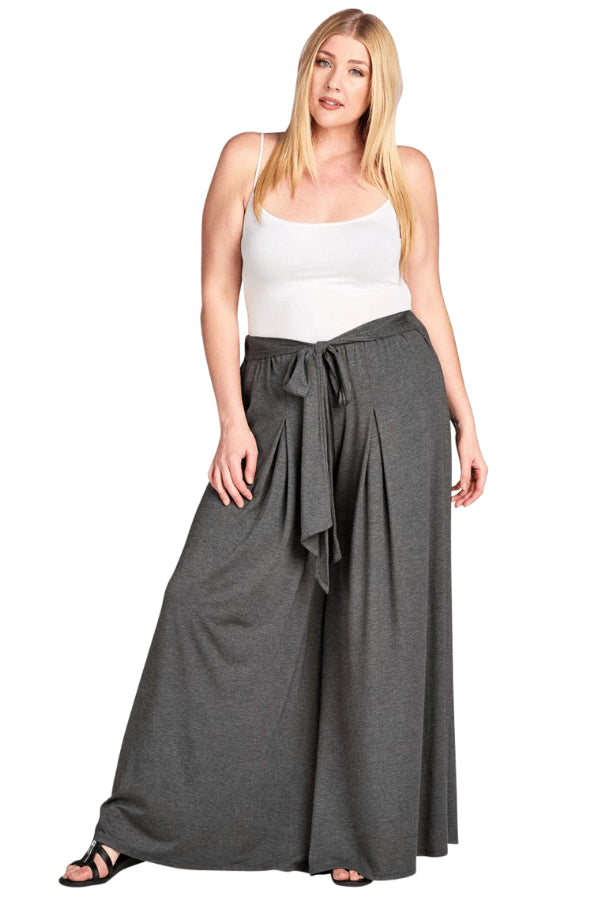 plus size Pants XL / AUS 16 / Charcoal Grey Josie Palazzo Pants - Charcoal
