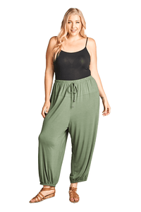 plus size Pants XL / AUS 18 / Olive Green Darcy Harem Pants - Green