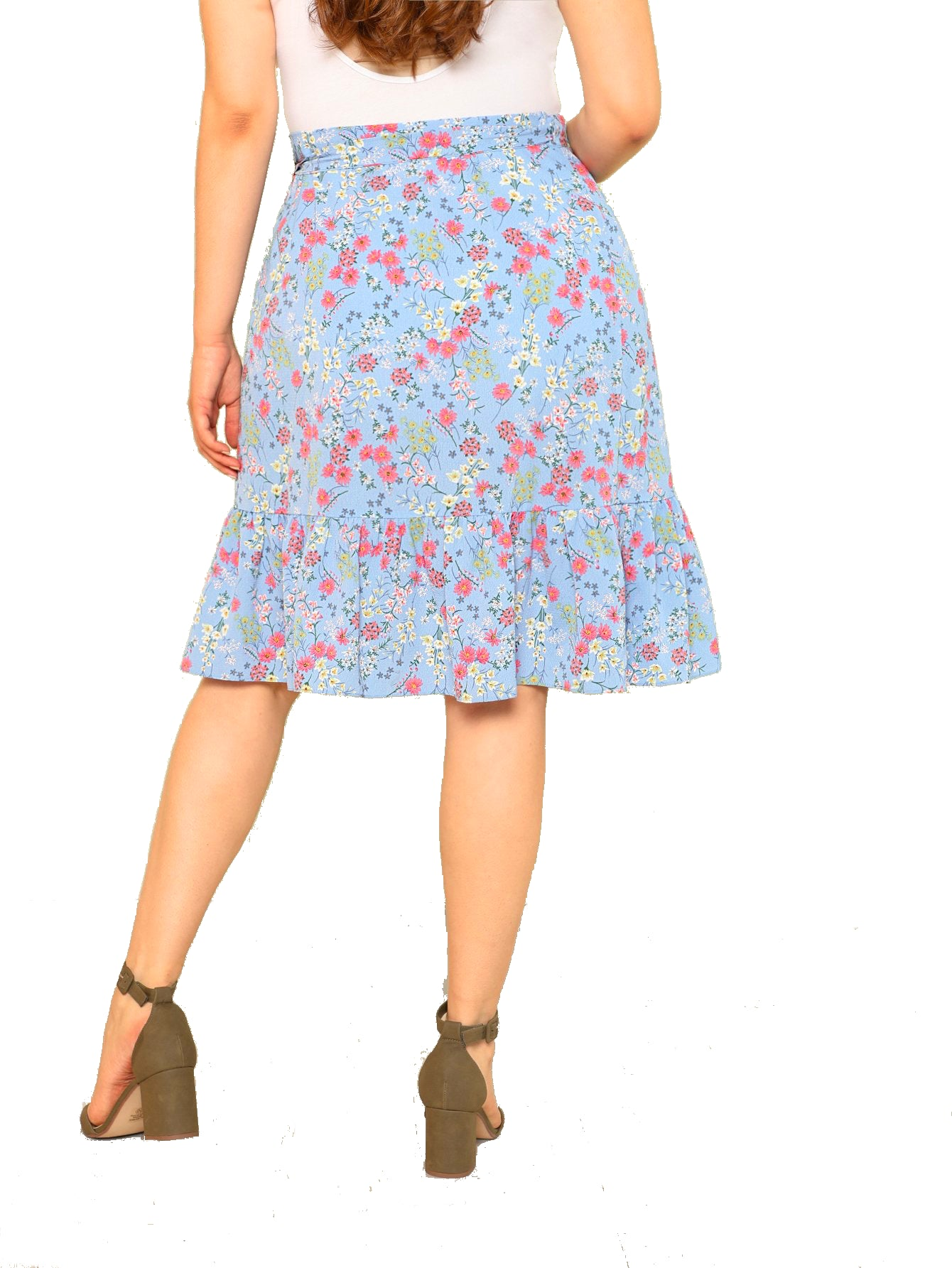 plus size Skirt L / AUS 16 / Blue Serena Floral Skirt - CLEARANCE