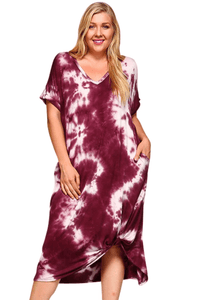 plus size T-Shirt Dress XL / AUS 14 - 16 / Tie Dye Burgundy aa. Alexis Dress - Tie Dye Burgundy