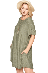plus size T-Shirt Dress XL / AUS 16 / Olive Green Savannah Dress - Olive