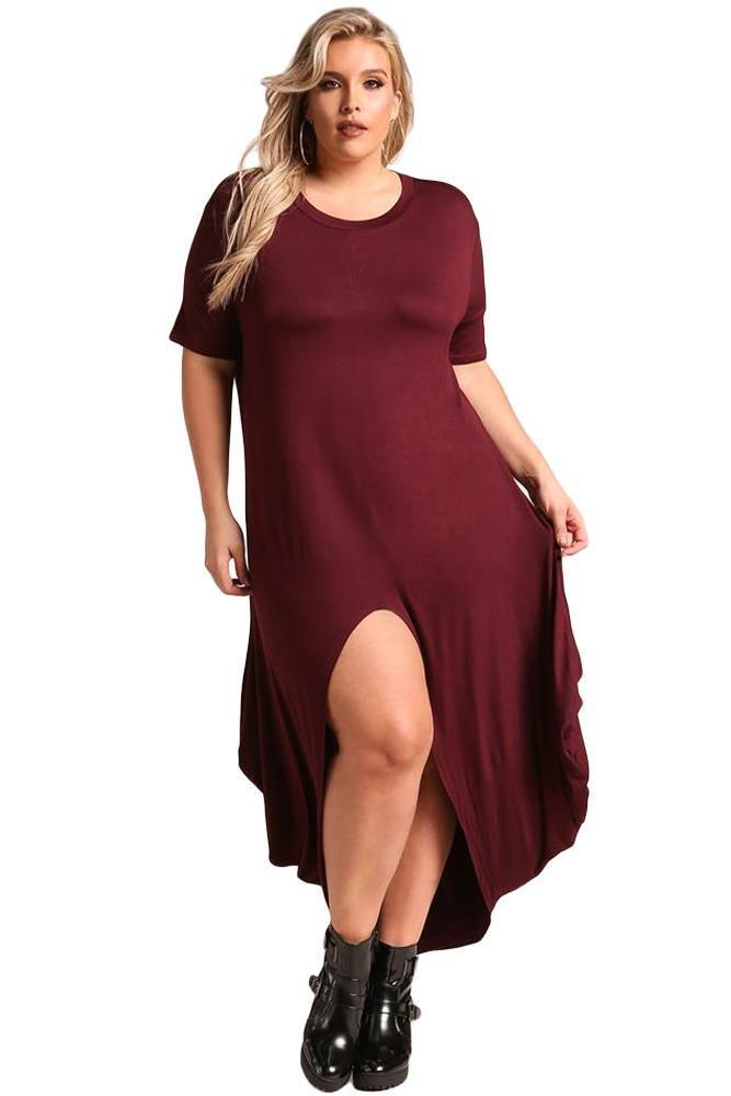 plus size T-Shirt Dress XL / AUS 16 / Wine Red Emma Hi-Low Maxi