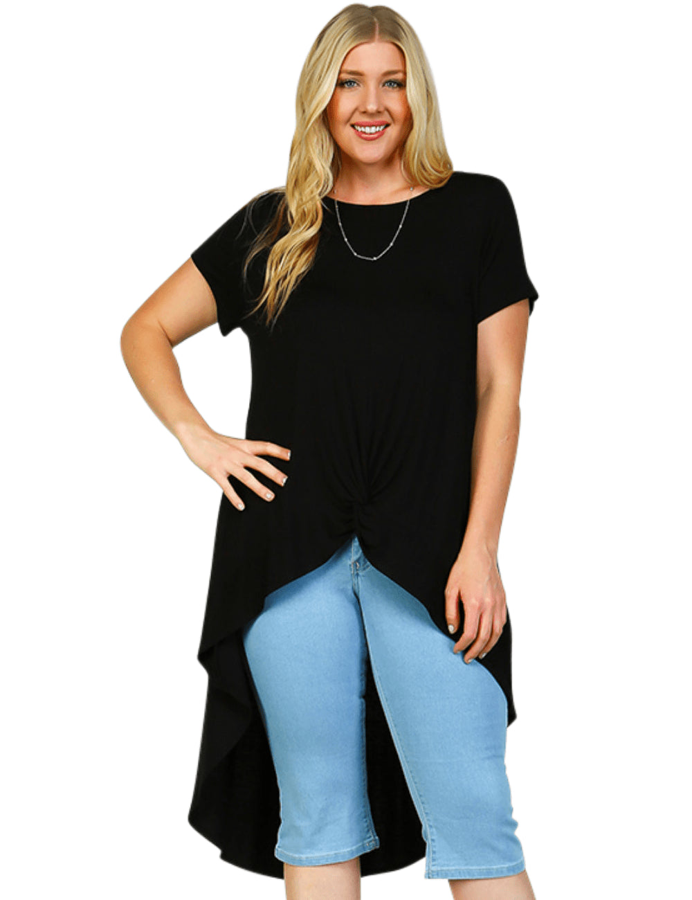 plus size T-Shirt XL / AUS 16 - 18 / Black Aubrey Hi-Low Tee - Black