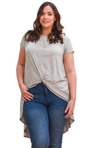 plus size T-Shirt XL / AUS 16 / Grey Aubrey Hi-Low Tee - Grey