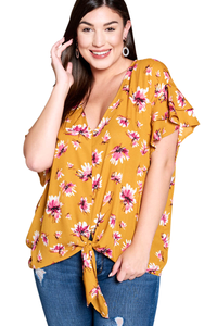 plus size T-Shirt XL / AUS 16 / Mustard Yellow aa. Kadyn Top