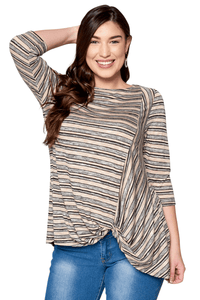 plus size T-Shirt XL / AUS 16 / Taupe ab. Kate Top - SAMPLE