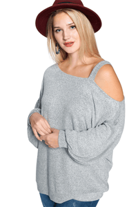 plus size Tops XL / AUS 16 / Grey aa. Fiona Knit Top
