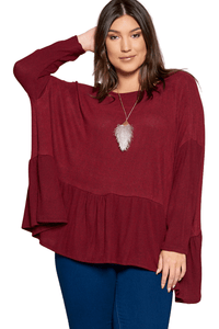 plus size Tops XL / AUS 16 / Wine Red aa. Luka Top - Wine Red