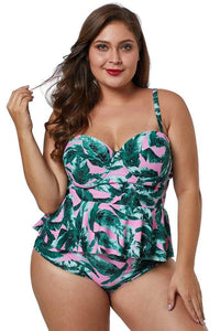 plus size Two Piece L / AUS 14 - 16 / Green & Pink Palm Beach Peplum Tankini Set