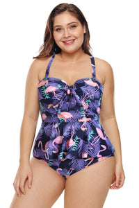 plus size Two Piece L / AUS 14 / Flamingo Purple Flamingo Peplum Tankini Set
