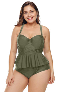 plus size Two Piece Toni Peplum Tankini Set