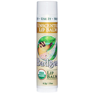 Badger Unscented Organic Lip Balm - 4.2 grams