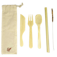 Bamboo Cutlery Kit With Storage Pouch