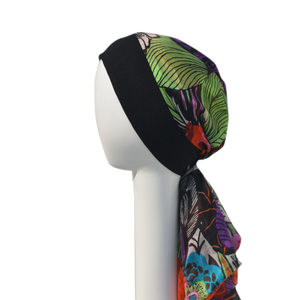 Chemo Silk Headscarf With Knit Band - 100% Silk