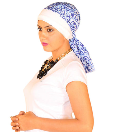 Chemo Cotton Scarf Cap with Batik Print