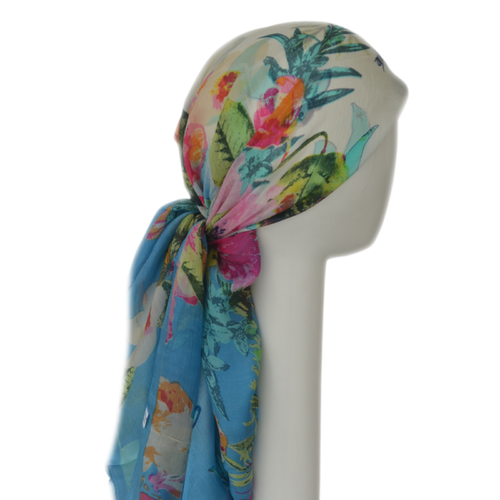 Chemo Silk Headscarf With Floral Design - 100% SILK