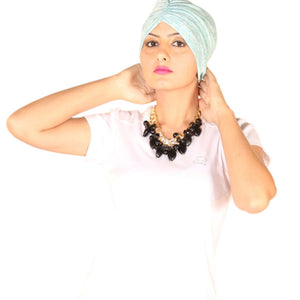 Chemo Slub Effect Mint Turban For Women