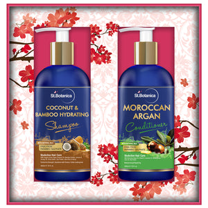 StBotanica Coconut Oil & Bamboo Hair Strengthening Shampoo + Moroccan Argan Hair Conditioner, 300ml