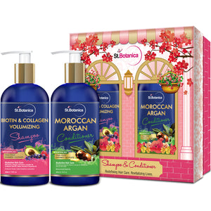 StBotanica Biotin & Collagen Volumizing Hair Shampoo + Moroccan Argan Hair Conditioner, 300ml