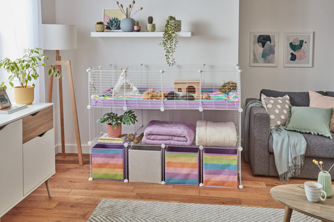 Beautiful C&C Cage kavee white grids 4x2 2x4 guinea pig cage