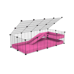 a 2x4 C and C guinea pig cage with loft ramp lid small hole size grids pink coroplast kavee
