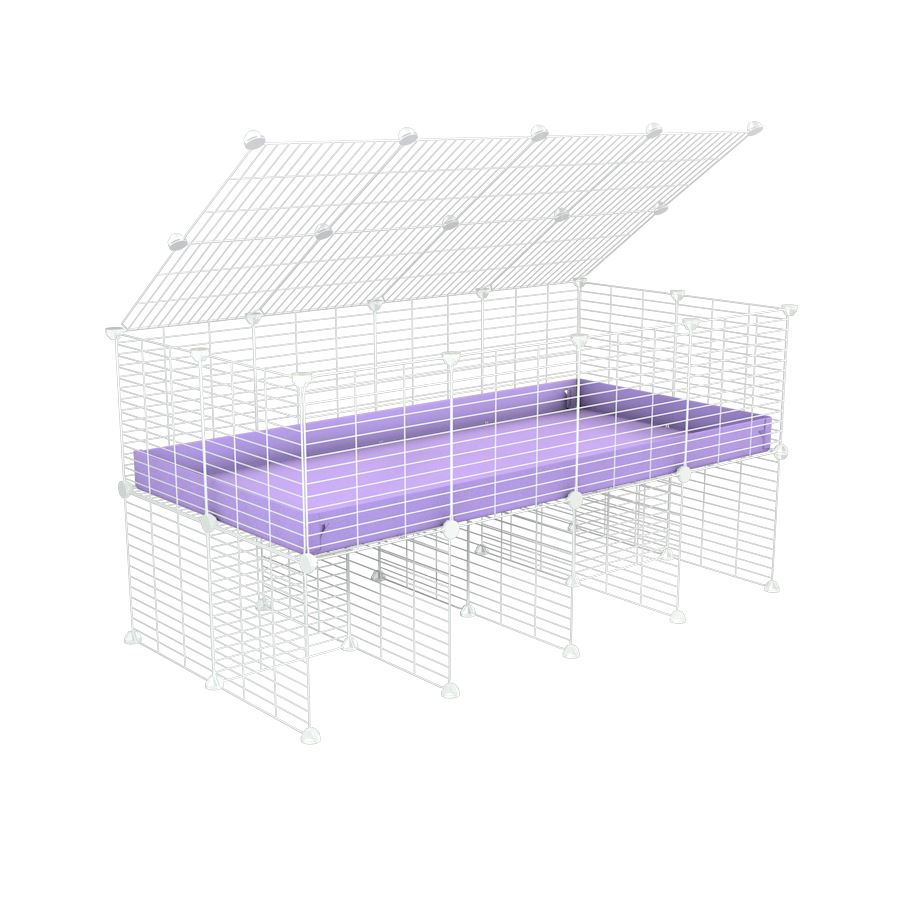 a 4x2 C&C cage for guinea pigs with a stand and a top purple lilac pastel plastic safe white C and C grids by kavee